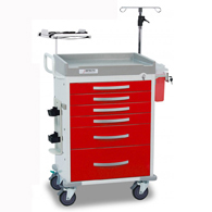 Detecto Loaded Rescue ER Medical Carts-Red