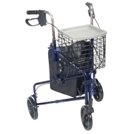 Drive Medical 3 Wheel Walker Rollator with Basket Tray and Pouch